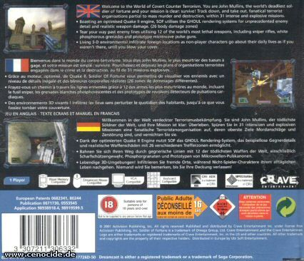 SOLDIER OF FORTUNE (DREAMCAST) - BACK