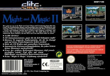 MIGHT AND MAGIC II (SUPER NINTENDO) - BACK